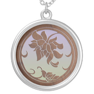 Faux Wood Floral Medallion Silver Plated Necklace