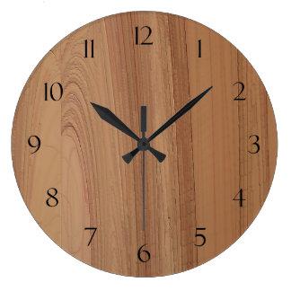 Faux Wood Grain Print Wall Clock