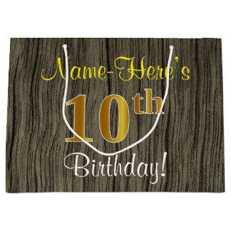 Faux Wood Look, Faux Gold 10th Birthday + Name Large Gift Bag