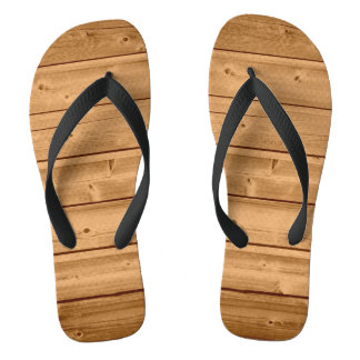 Faux Wood Plank Design Flip Flops