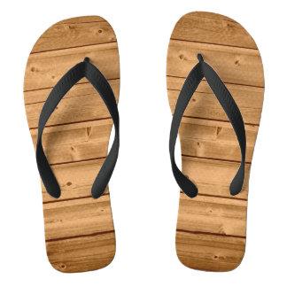 Faux Wood Plank Design Flip Flops