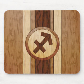 Faux Wood Sagittarius Symbol Mouse Pads