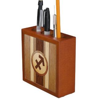 Faux Wood Sagittarius Symbol. Pencil/Pen Holder