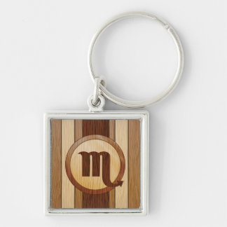 Faux Wood Scorpio Astrology Symbol Silver-Colored Square Keychain