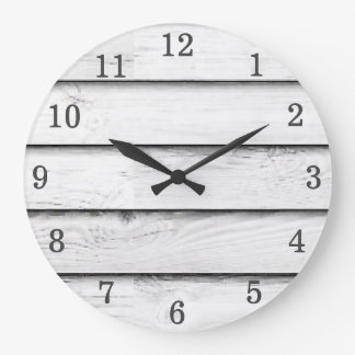 Faux Wood Slats | White | Customizable Large Clock