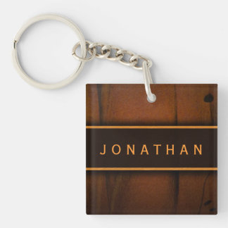 Faux Wood Square Double Sided Acrylic Keychain