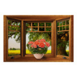 Faux Wooden Bow Window Illusion - Summer View Poster