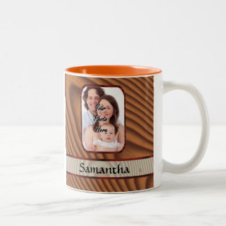 Faux wooden personalized photo Two-Tone coffee mug