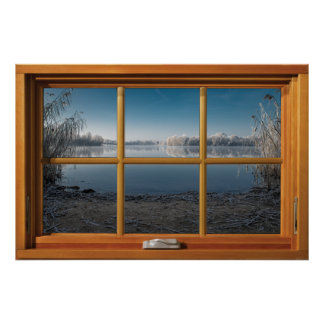 Faux Wooden Window Illusion - Frosty Winter View Poster