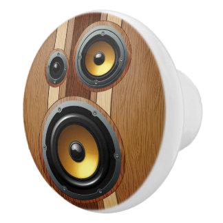 Faux woodgrain retro speakers ceramic knob
