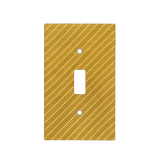 Faux Yellow Gold Diagonal Striped Light Switch Cover