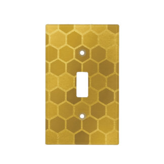 Faux Yellow Gold Hexagon Pattern Light Switch Cover
