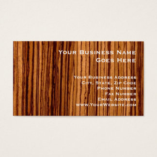 Faux Zebrawood Woodgrain Executive Business Card