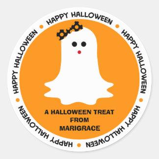 Faveur Girly de fantôme de Halloween Sticker Rond