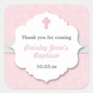 Faveur rose de baptême de baptême de fille de sticker carré