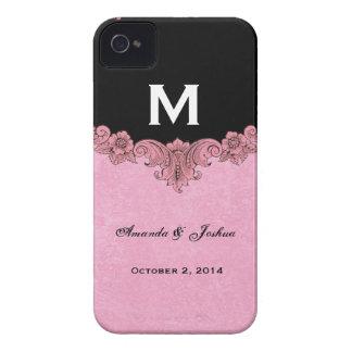 Faveur vintage rose et noire V30 de mariage de Étui iPhone 4