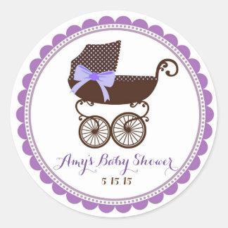 Faveurs d'autocollants de chariot de baby shower sticker rond