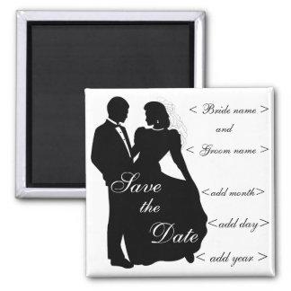 Faveurs de silhouette de jeunes mariés de danse magnet carré