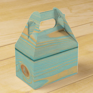 Favor box with blue wooden pattern texture