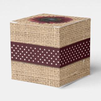 Favor/Gift Box - Burlap and Bordeaux Sunflower