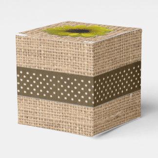 Favor/Gift Box - Burlap & Rain-Drenched Sunflower