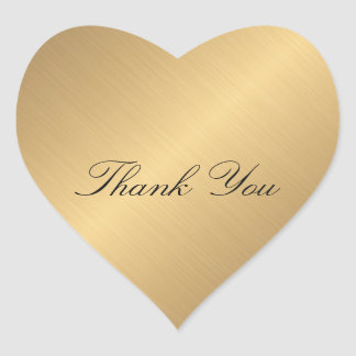 Favor Golden Heart Lace  Thank You Heart Sticker