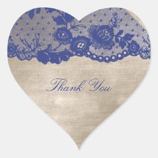 Favor Heart Ivory Cram Blue Navy Lace Thank You Heart Sticker