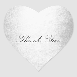 Favor Silver Heart Thank You Heart Sticker