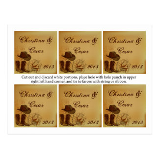 Favor Tags Assorted Western Cowgirl Hat/Boots Brow Postcard