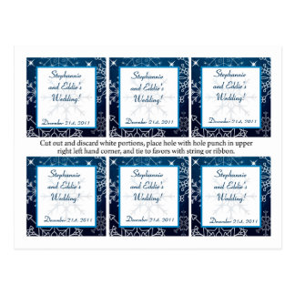 Favor Tags Blue Stars and Snowflakes Postcard