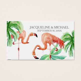 Favor Tags Flamingo Tropical Leaf Beach Watercolor