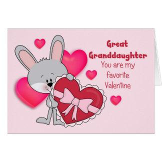 Favori Valentine de lapin d'arrière-petite-fille Carte De Vœux