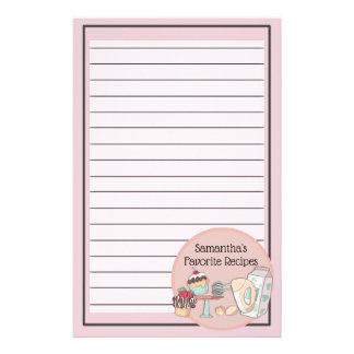 Favorite Recipes Pink Cupcake Customizable Stationery