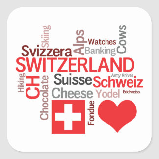 Favorite Swiss Things - I Love Switzerland Square Sticker