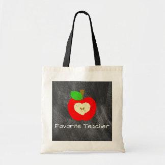 Favorite Teacher Apple on Chalkboard Tote Bag