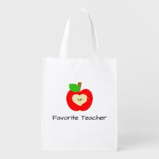 Favorite Teacher Apple Reusable Grocery Bag