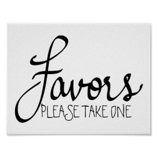 Favors Modern Wedding Simple Calligraphy Poster