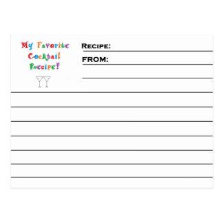 """""""Favourite Cocktail"""" Recipe Cards Postcard"""