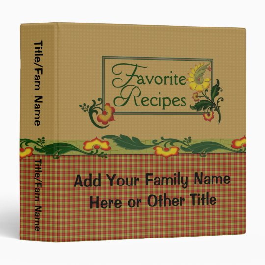 Favourite Family Recipes Vinyl Binders