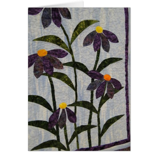 Favourite Quilts & Old Friends, Purple Flowers Card