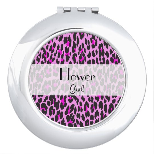 Favours - Animal Print, Spotted Leopard - Pink Mirror For Makeup