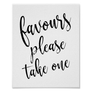 Favours Please Take One Simple 8x10 Wedding Sign