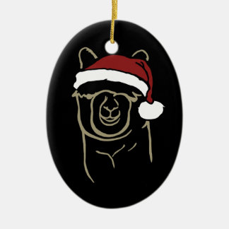 Fawn Alpaca with Santa Hat Ceramic Oval Ornament