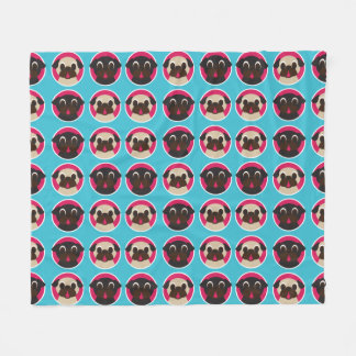 Fawn and Black Pugs in Circles on Ocean Blue Fleece Blanket