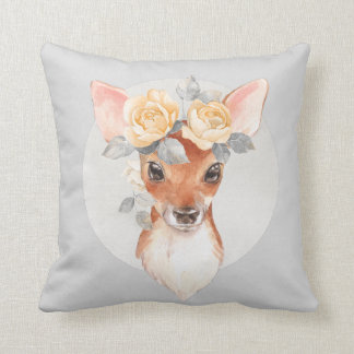 Fawn and yellow roses throw pillow
