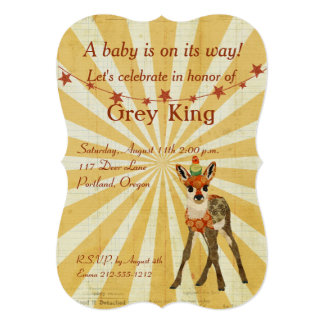 Fawn & Bird Baby Invitation