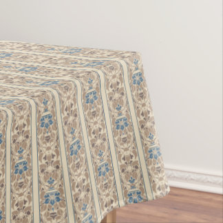 Fawn, blue and cream stripe floral pattern tablecloth