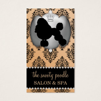 Fawn Brown Jeweled Damask Dog Grooming/Spa Business Card