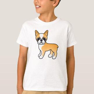Fawn Cartoon Boston Terrier Drawing T-Shirt
