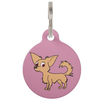 Fawn Chihuahua with Long Hair Pet Name Tag